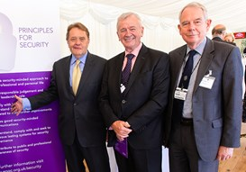 Rt Hon John Hayes MP, Terry Morgan CBE, Chairman of Crossrail and Engineering Council Chairman and Rear Admiral Nigel Guild CB