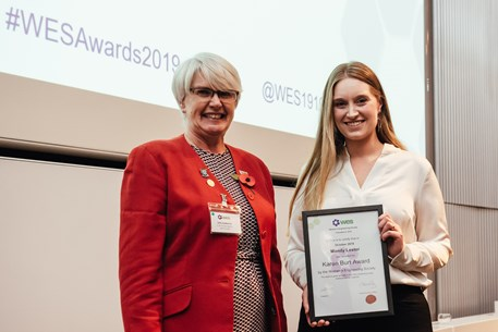 Mandy Lester receiving the WES Karen Burt Award for best new female Chartered Engineer from Sally Sudworth