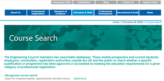 Course search - screenshot of webpage